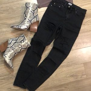 Black shredded high waisted jeans
